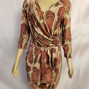 Jennifer Lopez Snakeskin Print Wrap Dress Medium